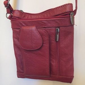 Handbags - Red faux leather cross body bag